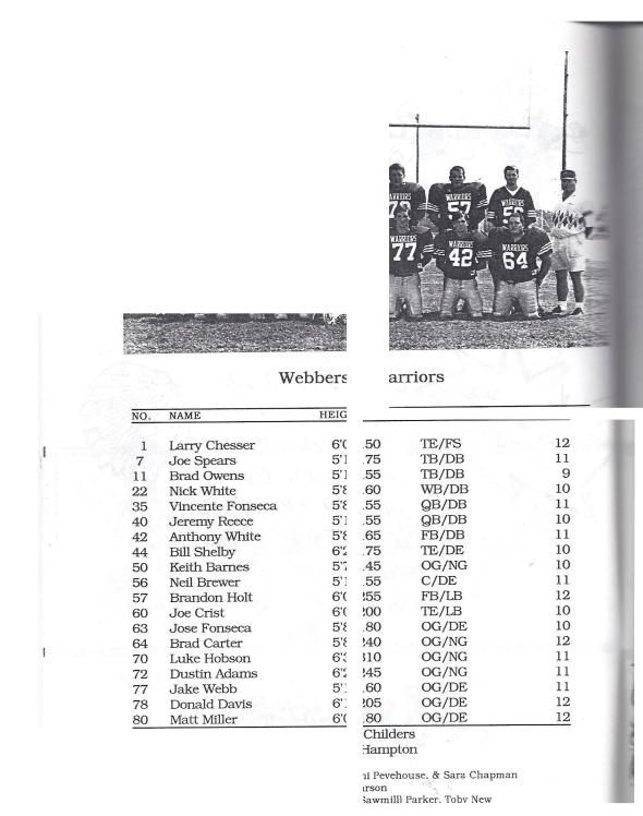 Page 2 of the 1998 Shidler High School Vs Webbers Falls Football Game Program