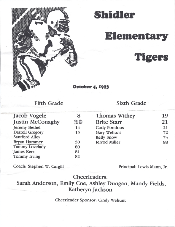 Roster of the 1993 Shidler Elementary School Football Team