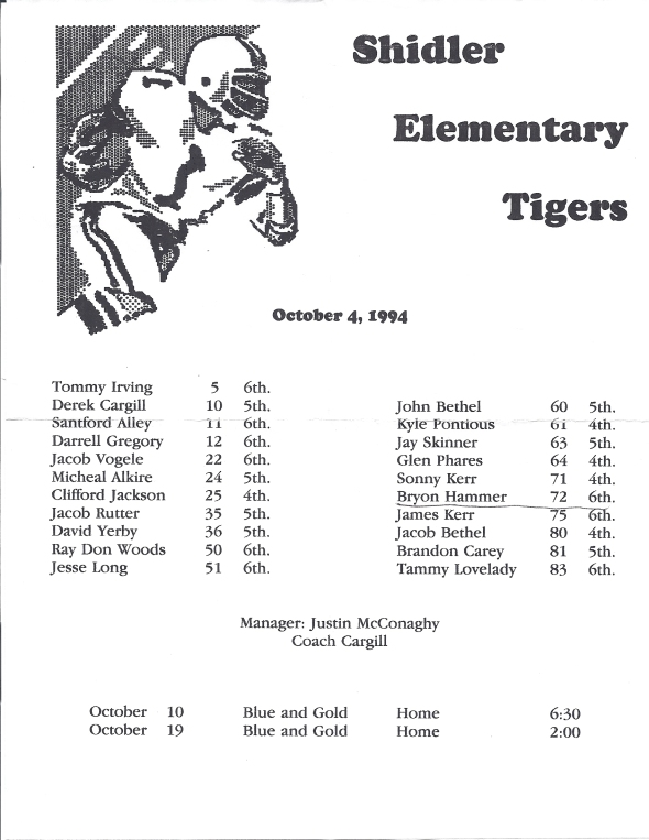Another roster of the 1994 Shidler Elementary School Football Team