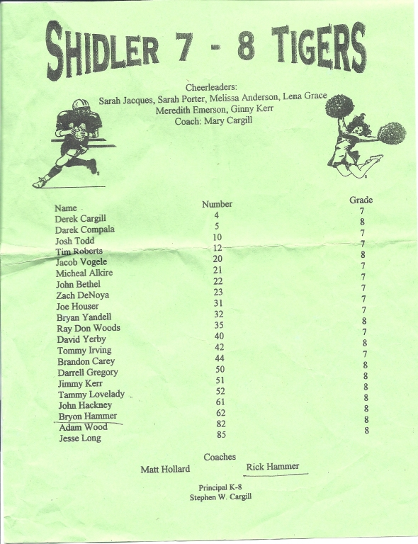 Second Roster of the 1996 Shidler Junior High School Football Team