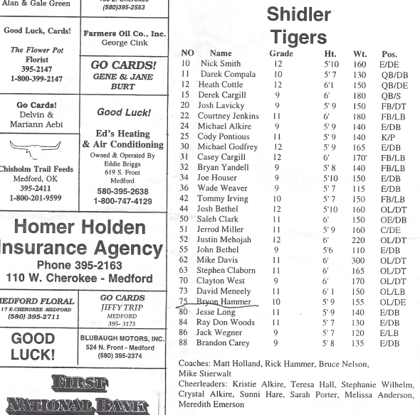 Page 1 of the 1998 Shidler High School Vs Medford Football Game Program